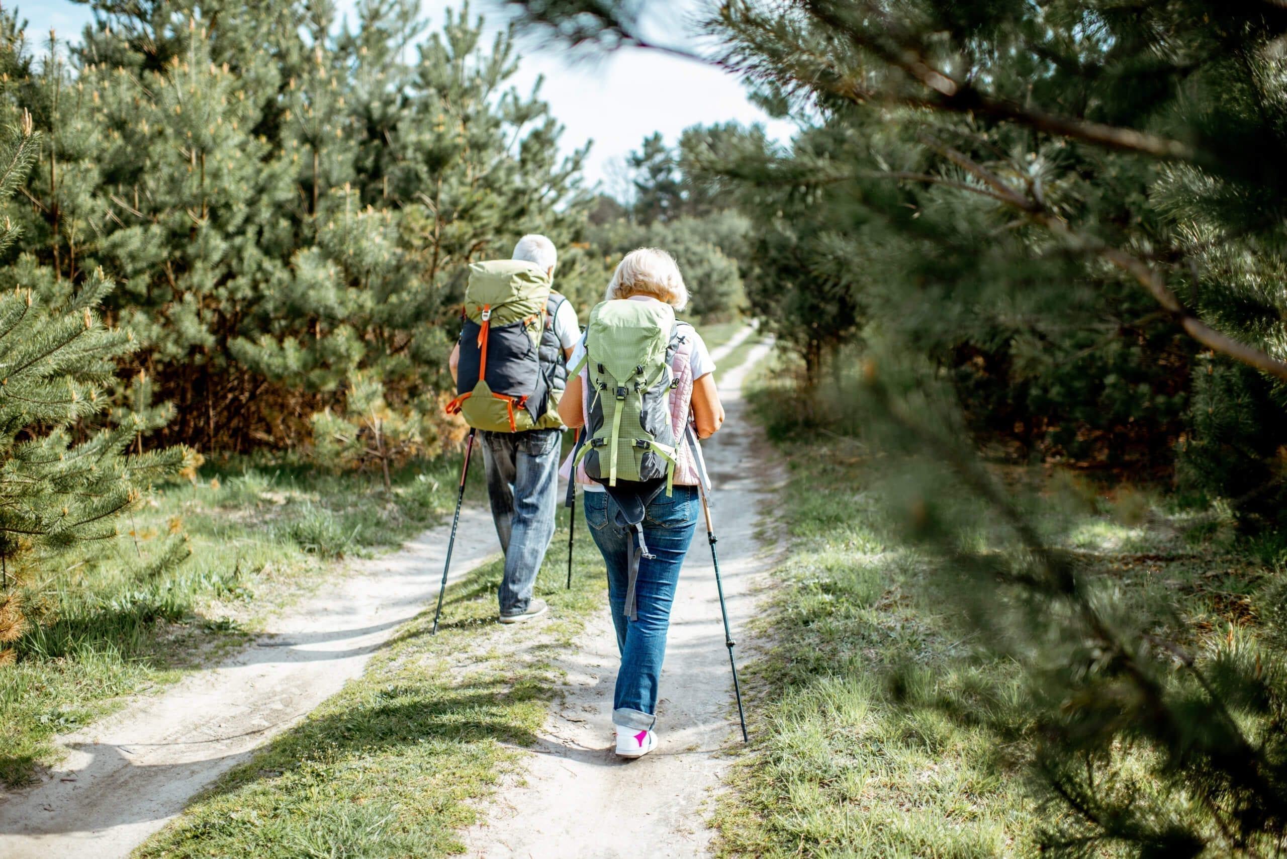 Senor couple hiking