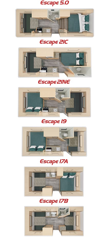 Escape travel trailer floorplans